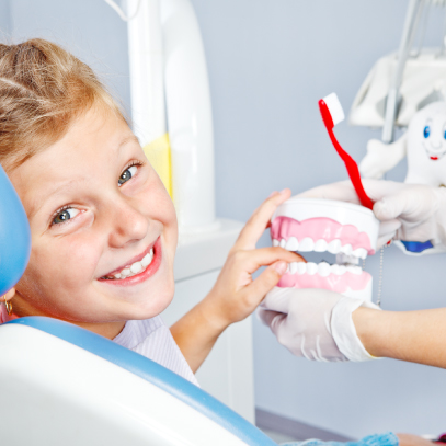 Boy having fun at the dentist