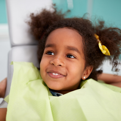 Little girl happy at the dentist