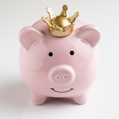 Piggy bank wearing a crown