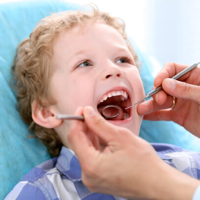 Boy at dental exam