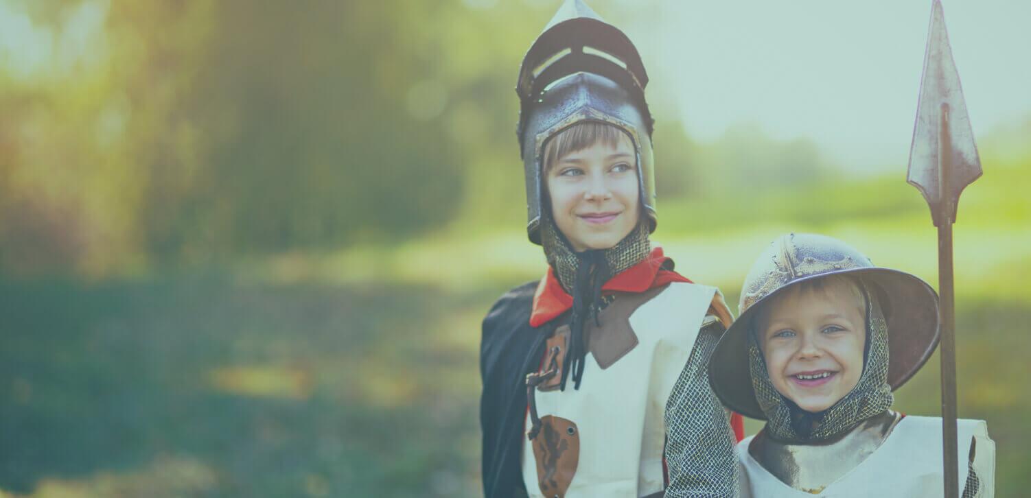 Children dressed as knights