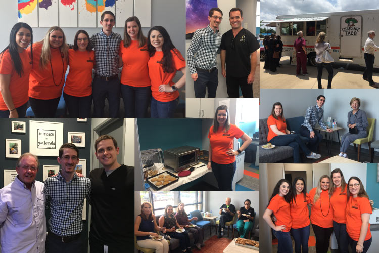 Collage of photos from the Storybook Smiles Children's Dentistry open house in May with the dental team