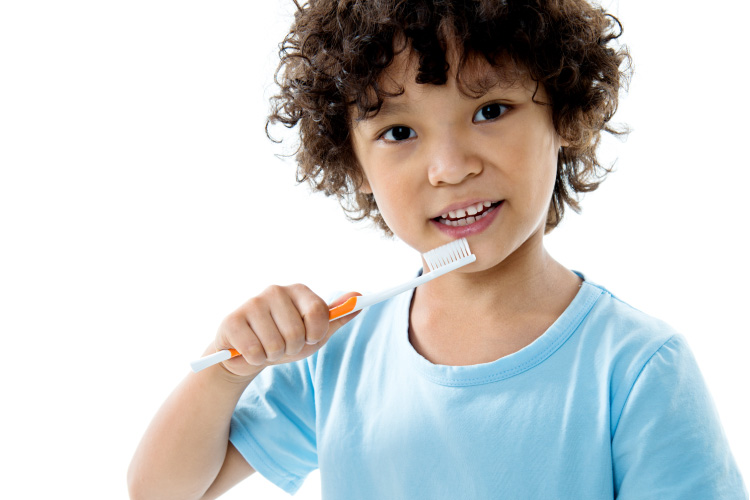 Dark-haired boy brushes his baby teeth with a toothbrush while wearing a blue shirt against a white background