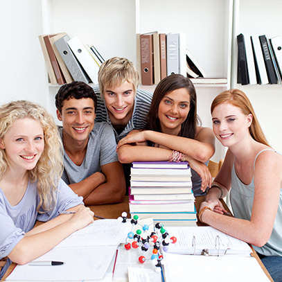 Teens studying