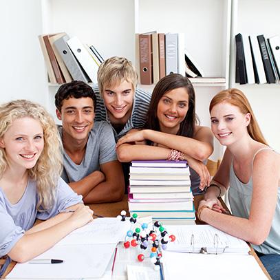Teens studying
