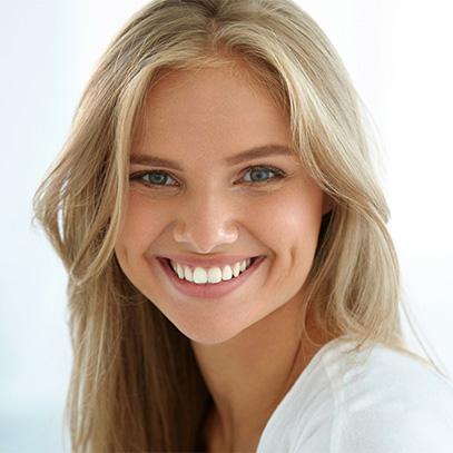 Teen girl with white teeth