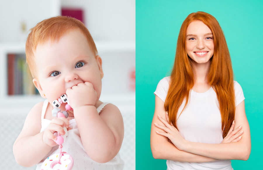 Redhead baby girl teething next to a redhead teenage girl to indicate the range of pediatric dental care in Tyler, TX